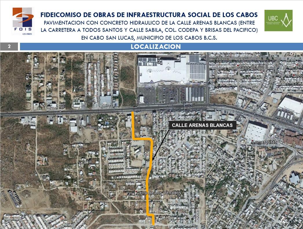Pavimentación con concreto hidráulico de la Calle Arenas Blancas en Cabo San Lucas.