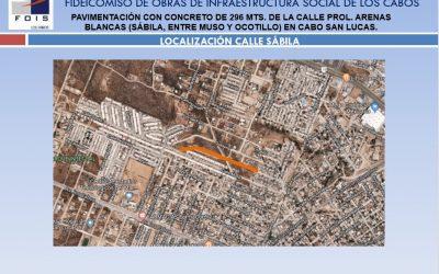 Pavimentación con concreto de 296 Mts. de la calle Prolongación Arenas Blancas en Cabo San Lucas.