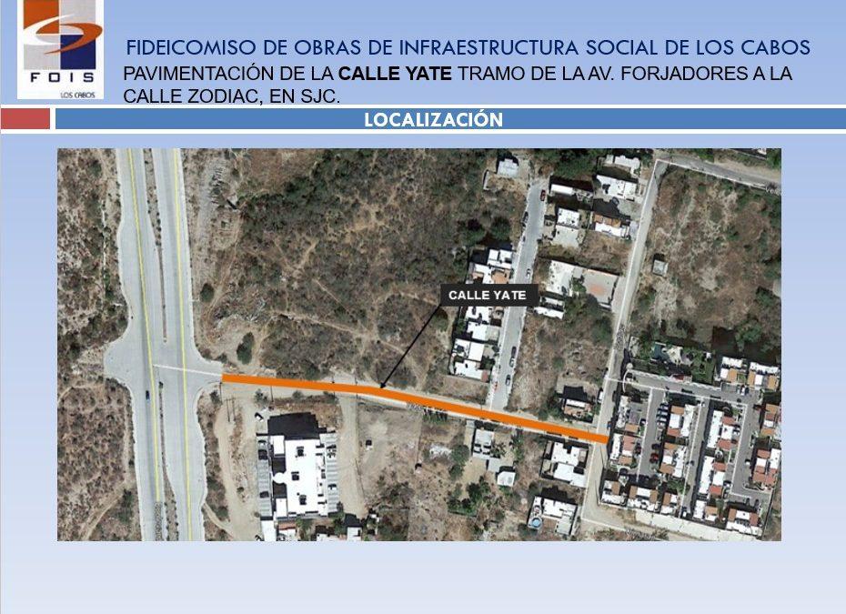 Pavimentación de calle Yate tramo comprendido de la Av. Forjadores a la calle Zodiac, en San José Del Cabo