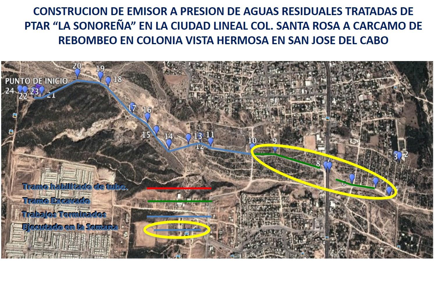 Construcción del emisor a presión de aguas residuales tratadas PTAR La Sonoreña