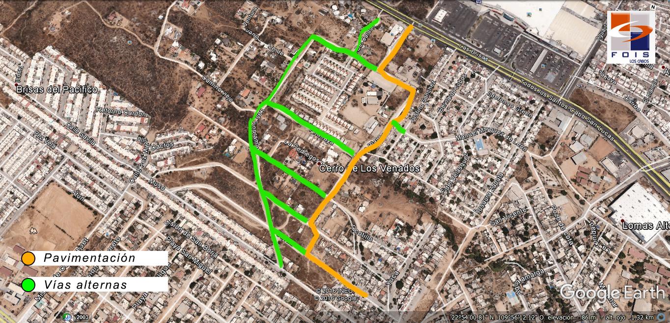 Desvío de tráfico obra Pavimentación calle Arenas Blancas