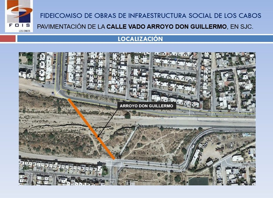 "Pavimentación de calle Vado ""Don Guillermo"" en San José del Cabo"